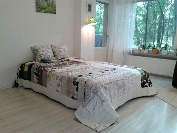 Modern quilt made from Marimekko fabric, Scandinavian patchwork contemporary bed cover, neutral geometric coverlet bedspread, King size