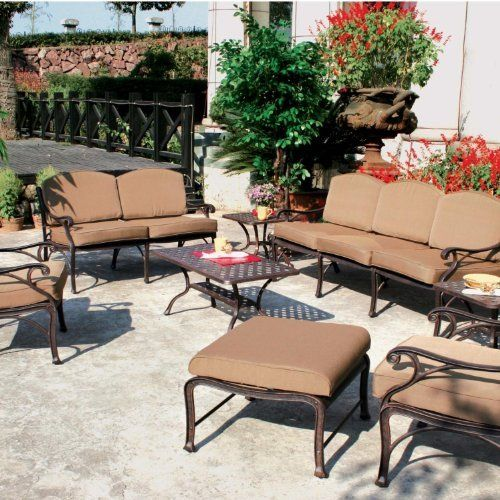 Darlee Nassau 7-person Cast Aluminum Deep Seating Patio Conversation Set - Antique Bronze by Darlee. $1877.85. Relax more comfortably with polyester seat cushions. Set Includes: Coffee Table, 2 End Tables, Sofa, Loveseat, 2 Lounge Chairs, Ottoman, Brown Polyester Cushions. Cast aluminum construction promotes rust resistance. Antique bronze powder coating is tougher than conventional paint finishes. Lightweight aluminum frame makes rearranging your furniture easy. Darlee ...