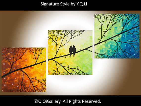 This would be so cute above the bed! Original Oil Painting Impasto Love Birds Tree by QiQiGallery