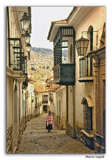 Calle Jaén - old alley in La Paz, Bolivia