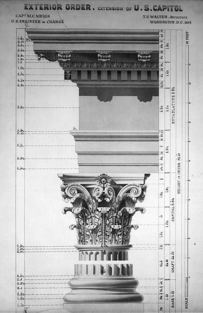 The Corinthian order as used in extending the US Capitol in 1854: the column's shaft has been omitted