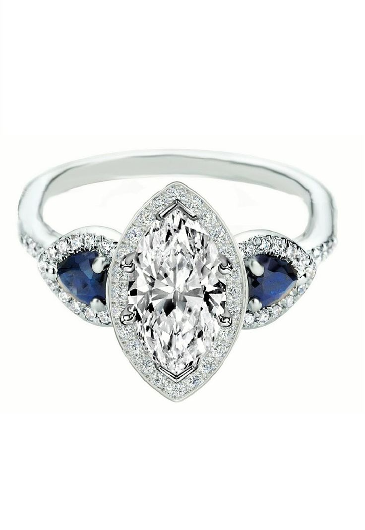 Marquise Diamond Halo Engagement Ring Pear Shape Blue Sapphire Side Stones
