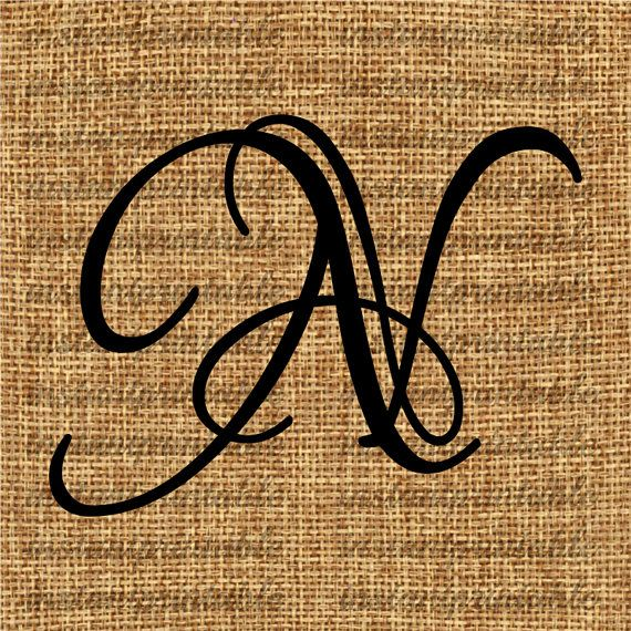 Monogram, Initial Letter N, Letter Clip Art, Letter Decal