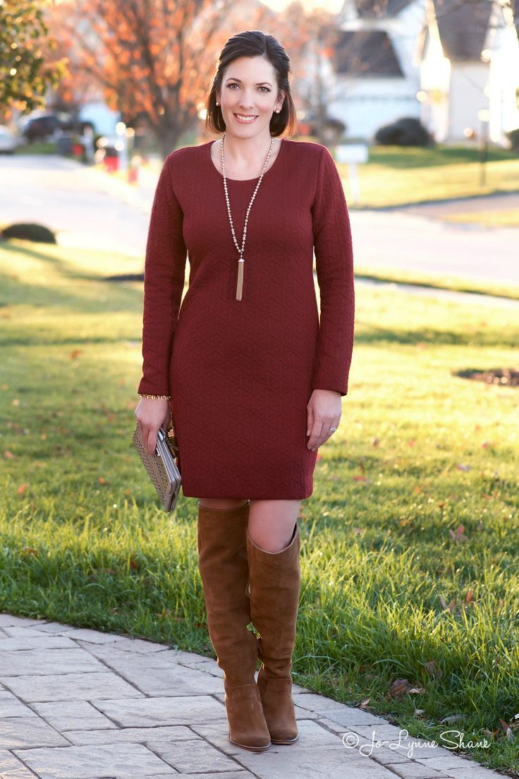 Fashion Over 40: Holiday Party Outfit, OTK Boots with a Shift Dress