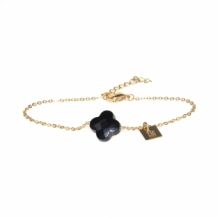 ZAG Bracelet Klaver Zwart | Goud