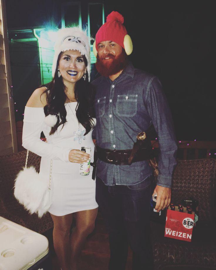 Yukon Cornelius & Bumble the Abominable Snowman Halloween Costume #beardcostume #beards #creativehalloween #halloween #besthalloweencostumes #couplescostumes #groupcostume #rudolph #bumble #yukoncornelius #diycostume #halloweencostume #christmas #holidays #holidaydiy