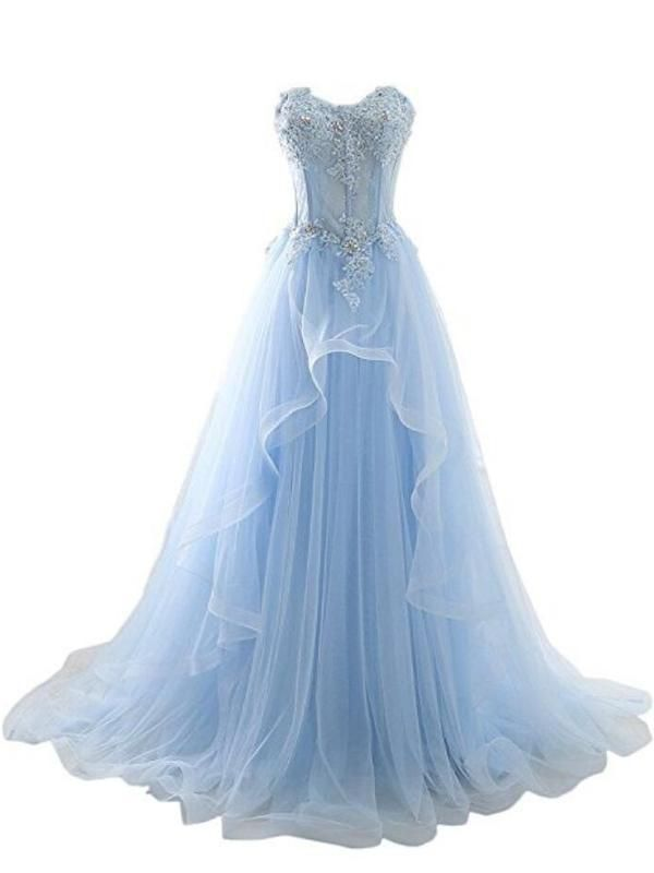99f4762323f Light Blue Sweetheart See Through Lace Tulle A line Long Evening Prom  Dresses