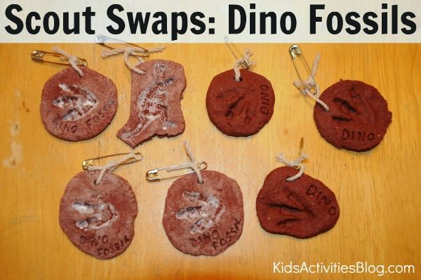 Learn how to make Dino Fossils- great for scout swaps