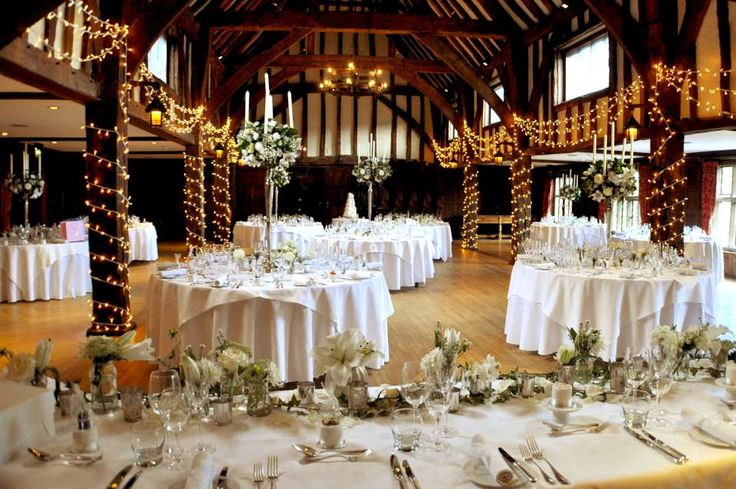 The view from the top table, Great Fosters Tithe Barn wedding. Lighting by Oakwood Events