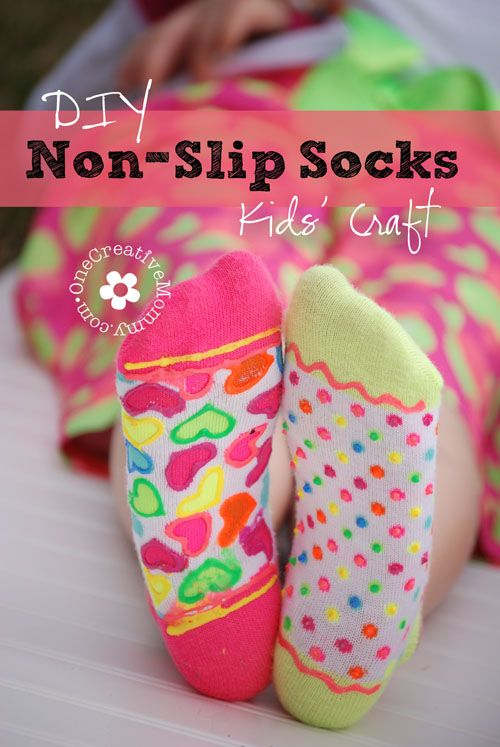 DIY Non-Slip Socks--Fun kids' craft or birthday party activity! {OneCreativeMommy.com}