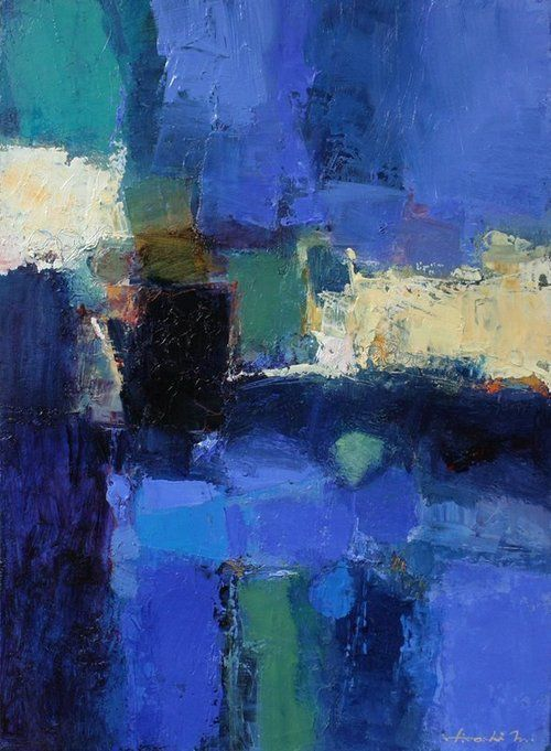 "May 2012 - 1 - Original Abstract Oil Painting - 33.3 cm x 24.2 cm (app. 13.1"" x…"