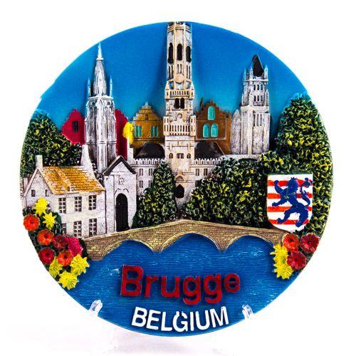 Souvenir Plate: Belgium. Bruges Attractions (Diameter 14 cm)
