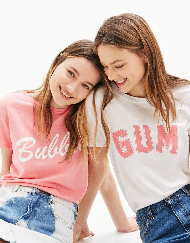 Bubble/Gum slogan T-shirt. Discover this and many more items in Bershka with new products every week
