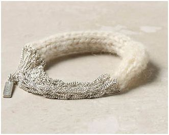 Knitted Yarn and Chain Mixed Media Bracelet Tutorials - The Beading Gem's Journal... love the mix of soft knit with chains.