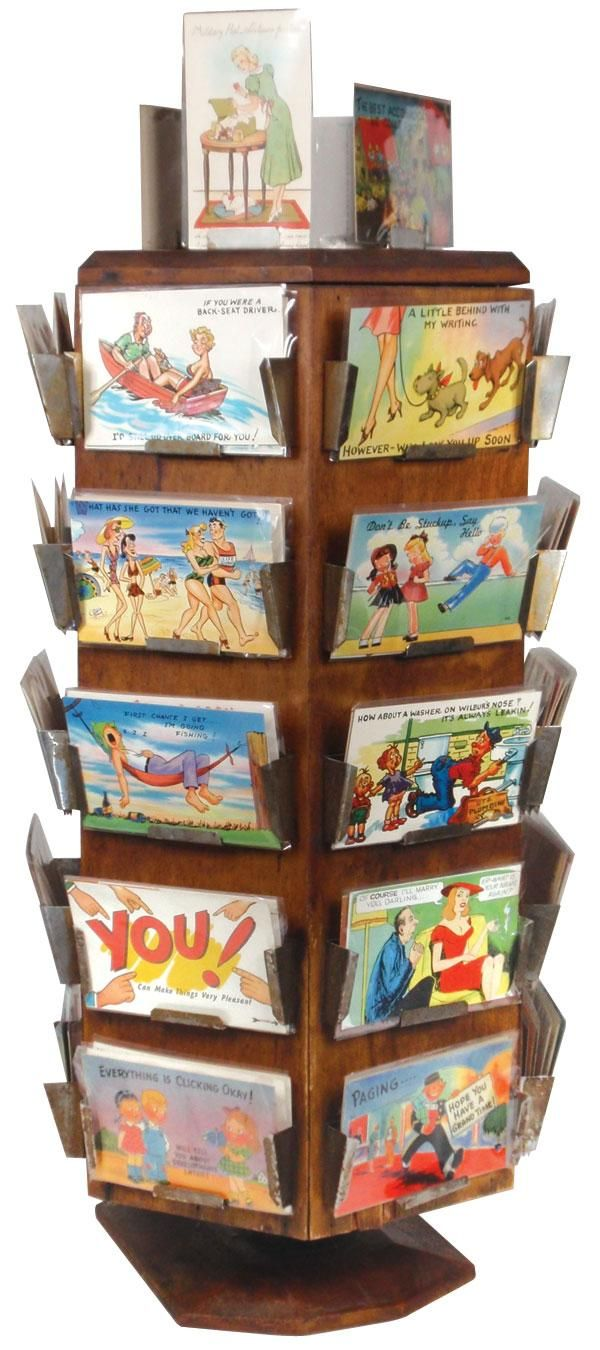 postcard display- I love love love this. I need to know where to find a wood display rack. I'm sure it will end up being an estate sale find or something.