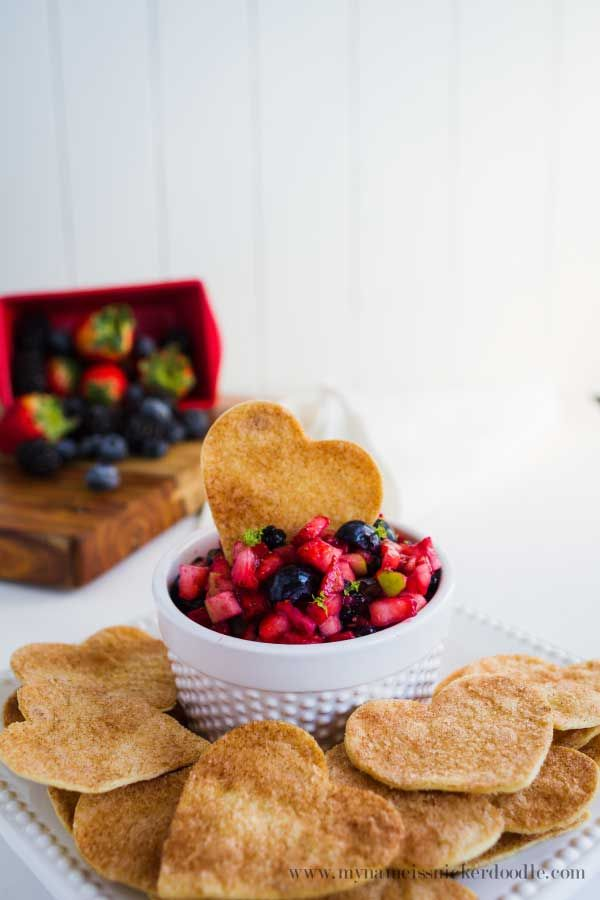 Yummy Fruit Salsa with Cinnamon Tortilla Chips!  Totally a fun recipe for an after school snack, summer treat or baby or bridal shower!  |  mynameissnickerdoodle.com