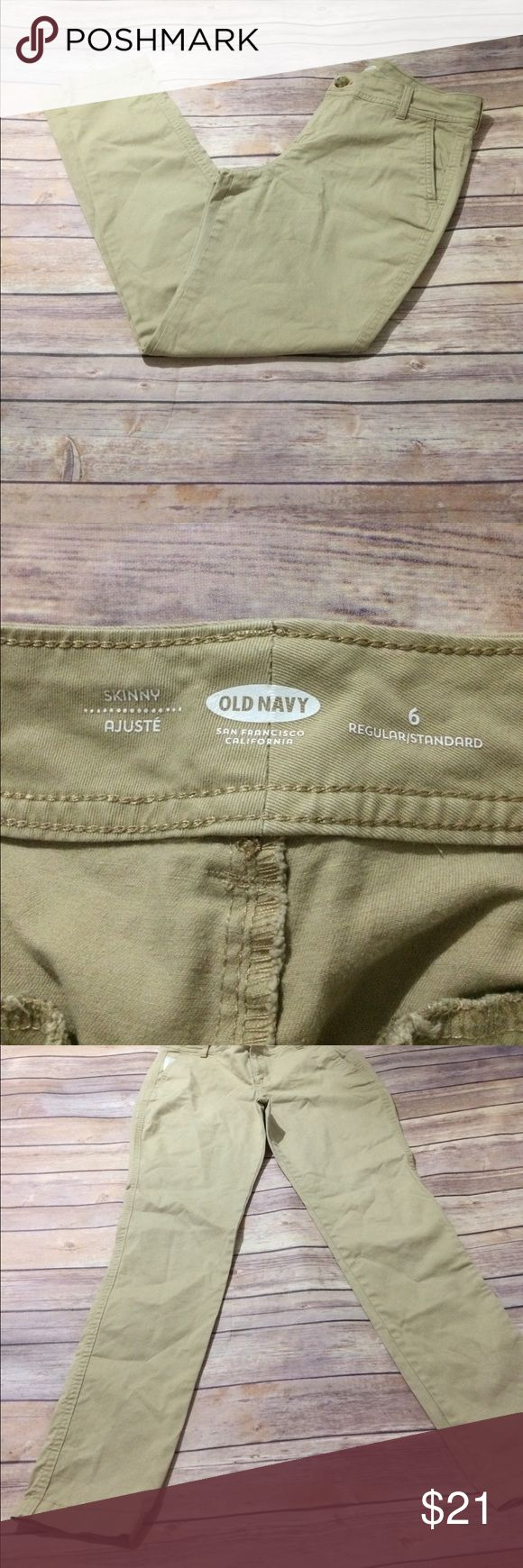 """Old Navy Khaki Skinny Jeans Like new, barely worn.  Length: 37.5"""" Inseam: 29"""" Rise: 10"""" Waist: 30"""" Hips: 36"""" 👜Submit a bundle for a private offer! 👜.       🚫Smoke free, pet free home. No trades. 🚫 Old Navy Jeans Skinny"""