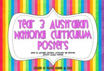 Year 3 Australian National Curriculum Posters - Miss N - TeachersPayTeachers.com