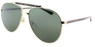 Gucci Gg0014s 006 Gold Aviator Sunglasses.