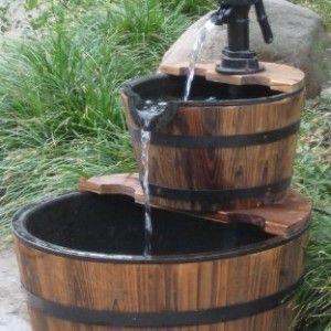 Wine barrel fountain outdoor spaces pinterest wine for Wine barrel fountain