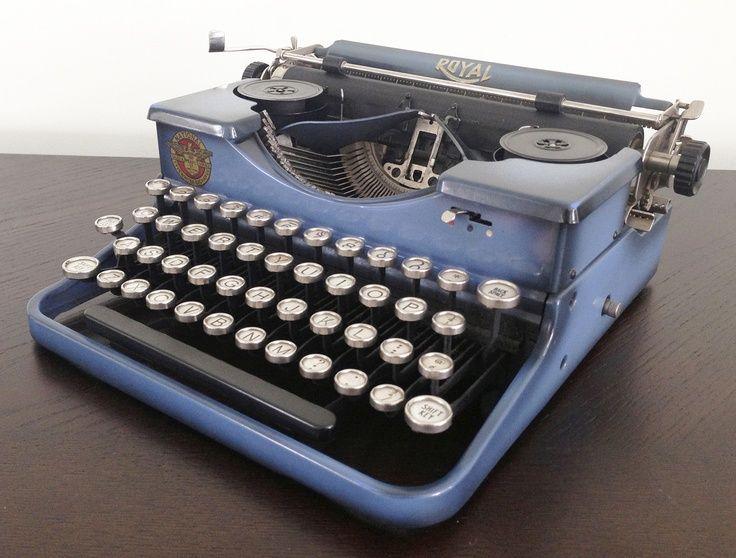 Lovely Vintage Royal Portable Typewriter Part - 13: Blue Duotone Vintage Royal Portable Typewriter 1929 Antique Glass Keys  Works | EBay $125