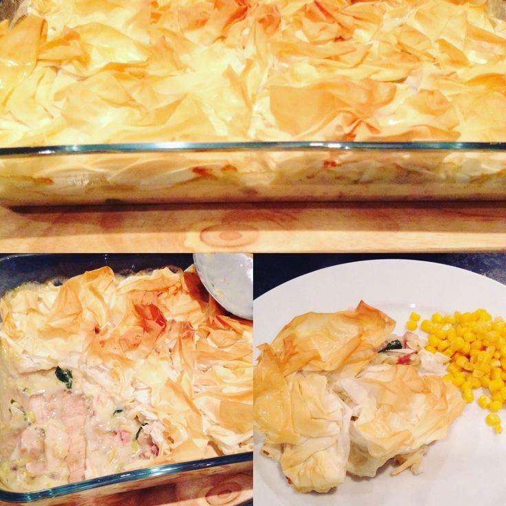 Chicken, ham, leek & spinach pie. A Lean in 15 recipe.
