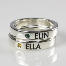 Mothers Stackable Name Ring With Birthstone