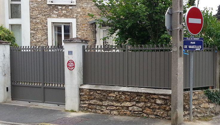 Portail, portillon et clôture aluminium Pont Aven de Cadiou, gris quartz RAL 7039 TAVERNY 95