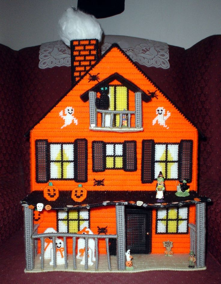 HTF Plastic Canvas Assembled Haunted Halloween Doll House With Furniture Ghosts