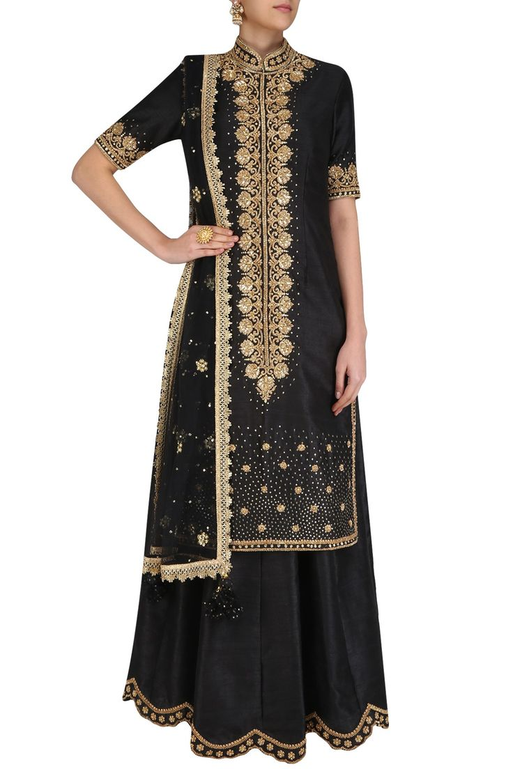 Black sequins embroidered kurta and lehenga set available only at Pernia's Pop Up Shop. #happyshopping #shopnow #ppus
