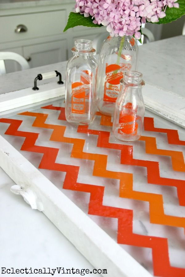 How to Make a Chevron Tray from an old window or piece of glass - the easy way (no special stencils needed)!  eclecticallyvintage.com