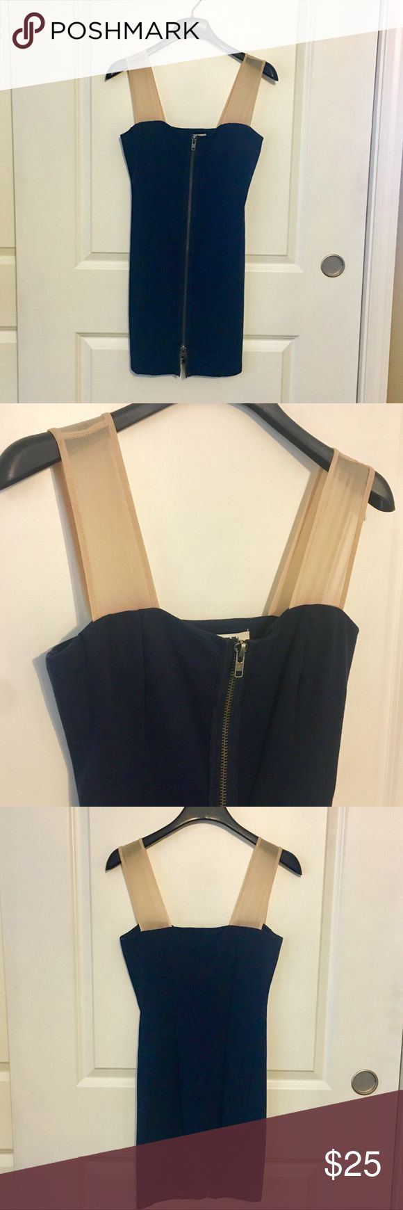 NWOT BB Dakota dress Navy blue zip front dress from BB Dakota. Nude mesh straps, working double zipper, zips up or down. Never worn, new without tags! BB Dakota Dresses Mini