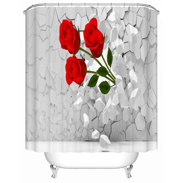 Bright Red Roses Shower Curtains Creative Customized Acceptable