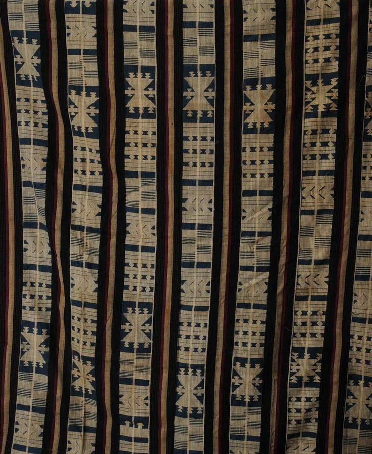 Africa | Blue striped and geometic motif Dogon cloth