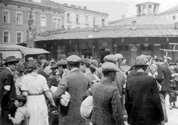 Krakow Ghetto: Jews in the street.