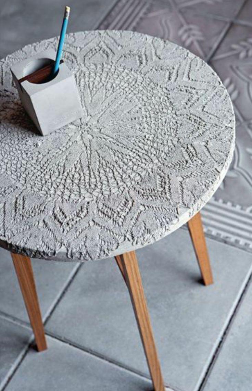 tisch mit tischdecke basteln mit beton zement gips salzteig pinterest. Black Bedroom Furniture Sets. Home Design Ideas