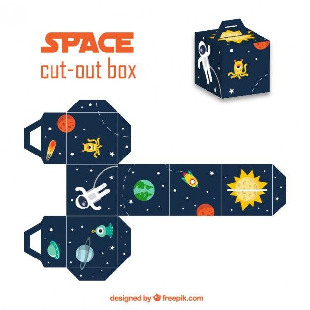 Caja recortable del espacio Vector Gratis