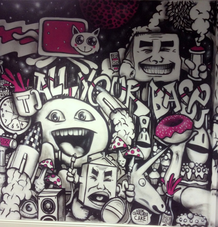 Section one of the MMK Media graffiti wall, by artist Anok