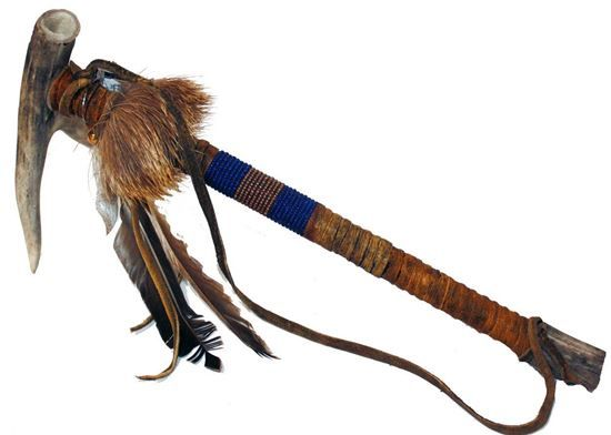 """Beaded Fork Antler Pipe with deer hair; 15""""- Native American Arts @ Foutztrade.com  Navajo Beaded Fork Antler Pipe 