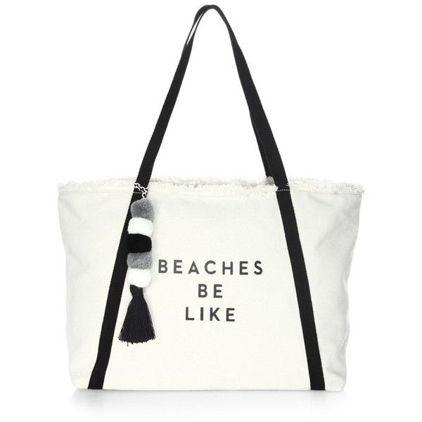 Milly Beach Cotton Tote Bag (9,885 PHP) ❤ liked on Polyvore featuring bags, handbags, tote bags, black, totes, beach handbags, zipper handbags, zipper tote, tote purses and milly handbags