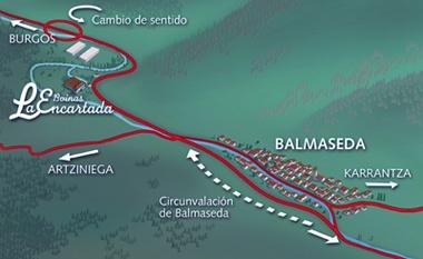 Plano para saber cómo llegar al museo. Estamos en la carretera, una vez pasado el pueblo de Balmaseda, dirección Burgos.