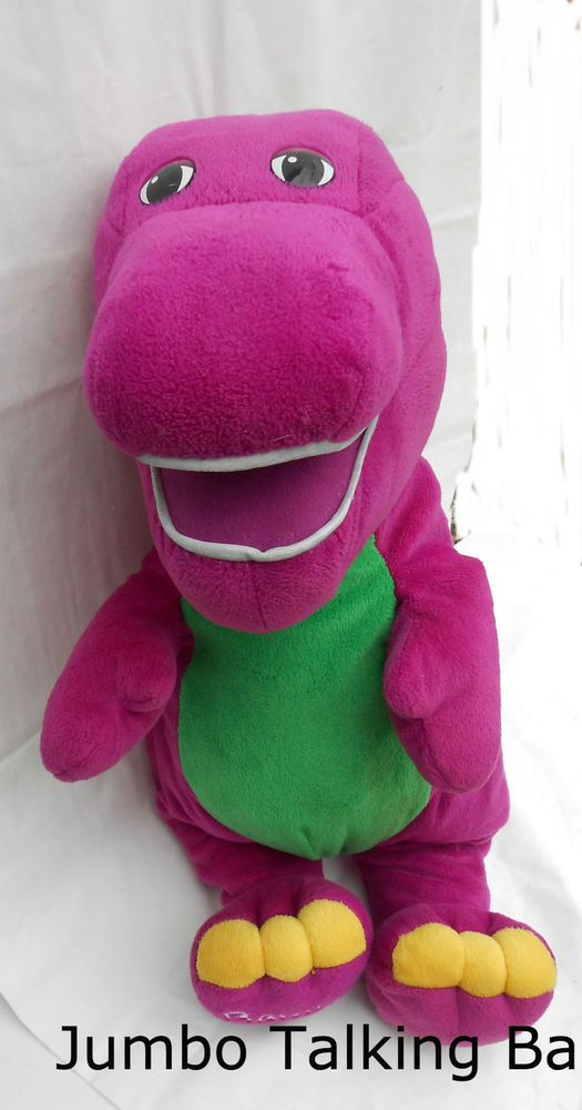 "Jumbo Talking Barney the Dinosaur 24"" Singing Plush Stuffed Electronic Toy #Lyons"