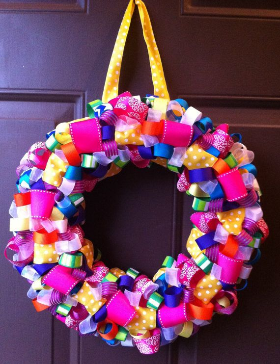 Ribbon Wreath Summer for Front Door on Etsy, $40.00