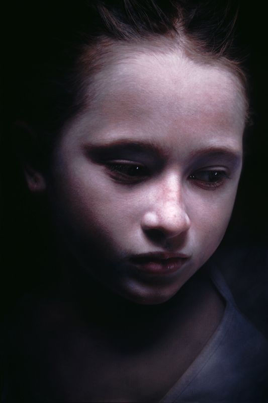 """Payton 5"" - Gottfried Helnwein, 2005, oil and acrylic on canvas {contemporary artist beautiful #hyperreal female head girl face photorealism portrait painting} <3"