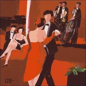 Bernard-Ott-Jazz-Club-fatto-immagine-70x70-Quadro-su-tela-Musicista-Di-Ballo