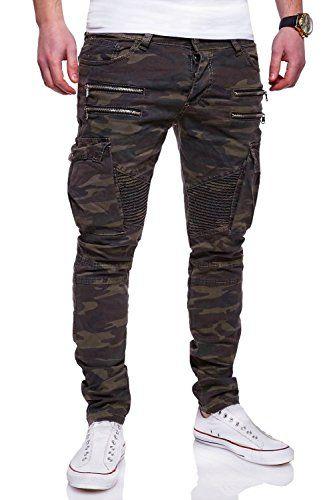 MT Styles Zipper stile biker Jeans Slim Fit Camouflage pantaloni RJ-3196 [cachi, W32/L32]