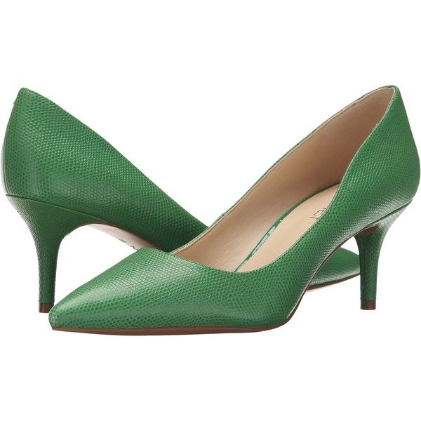 Nine West Margot (Green Reptile) High Heels ($63) ❤ liked on Polyvore featuring shoes, pumps, green, slip on shoes, pointy toe pumps, slip on pumps, pointy toe high heel pumps and pointy toe shoes