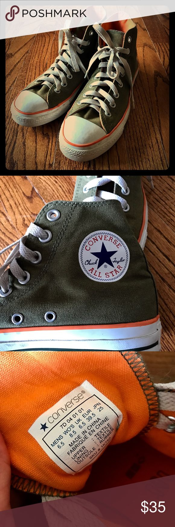Army Green Orange Converse Chuck Taylor Sz 6.5 Army Green Orange Converse Chuck Taylor Sz 6.5         These Converse are in Like New Condition! Worn 1 time Converse Shoes Sneakers