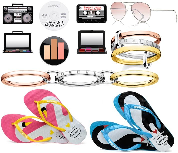 Beautyme SS18 selection inspired by music and love: 'M∙A∙C Jeremy Scott' limited edition available in Austria from May. Pilot eyewear by Tom Ford. (Photo: Marcolin.com). Thomas Sabo's 'Triple Rings' SS18 Sterling Silver collection, available from February. Valentine's Day 'Love Birds' flip flop edition by Havaianas (Havaianas photos: (C) Ari Custodio.)