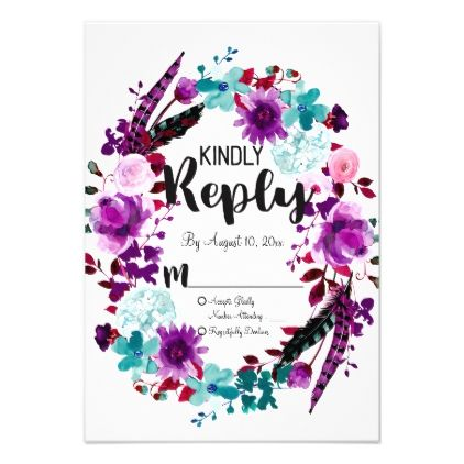 #Boho Chic Floral Wreath Purple Wedding Reply RSVP Card - #weddinginvitations #wedding #invitations #party #card #cards #invitation #watercolor